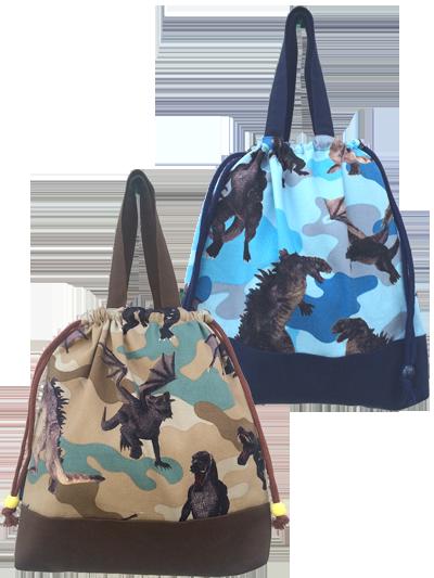 恐竜迷彩 きんちゃく型バッグ
