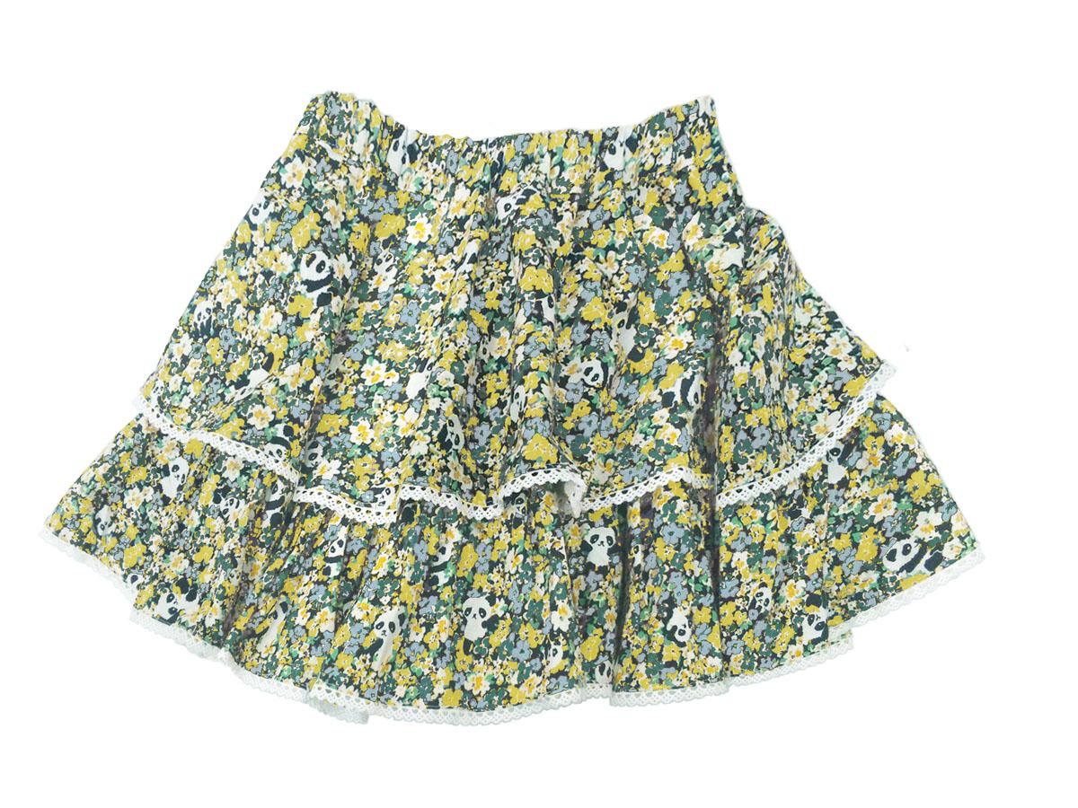 スペシャルデイスカート カモフラワーパンダ ボリューム2段スカート グリーン