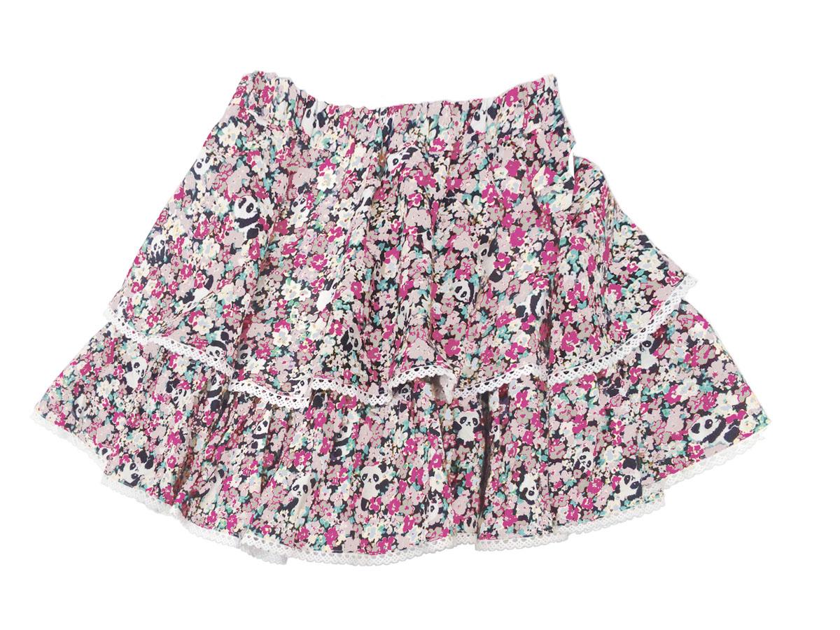 スペシャルデイスカート カモフラワーパンダ ボリューム2段スカート ピンク