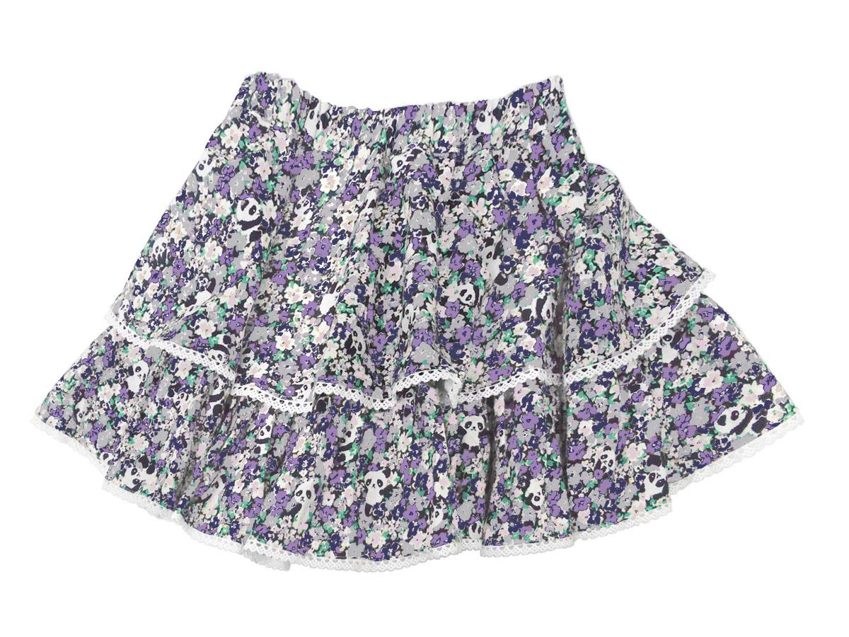 スペシャルデイスカート カモフラワーパンダ ボリューム2段スカート パープル