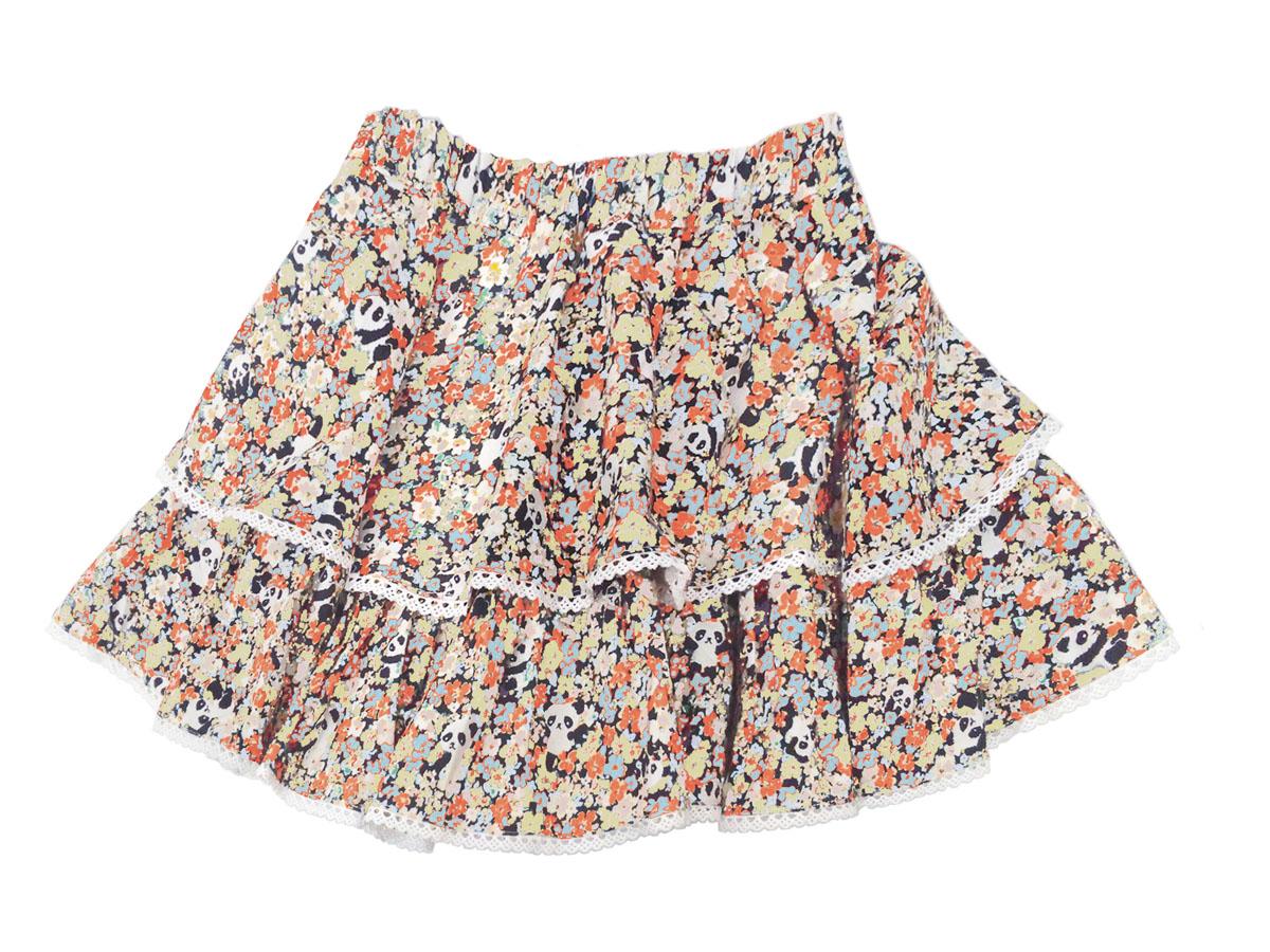 スペシャルデイスカート カモフラワーパンダ ボリューム2段スカート イエロー