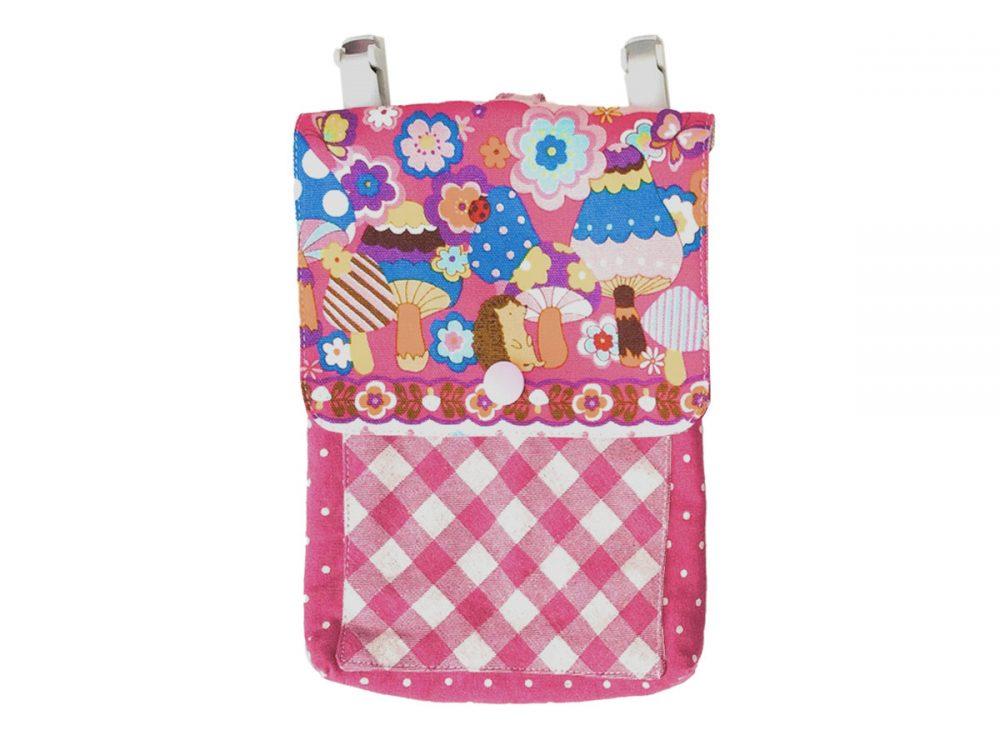 キノコとお花とハリネズミ マジックポケット [ 縦長L ]ピンク