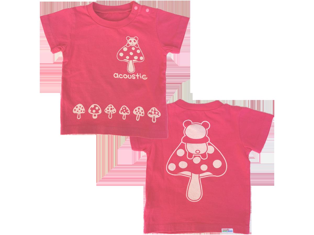 パンダきのこ 抜染プリントTシャツ ピンク