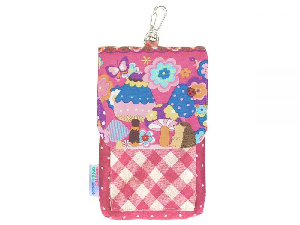 キノコとお花とハリネズミ スマホケースピンク
