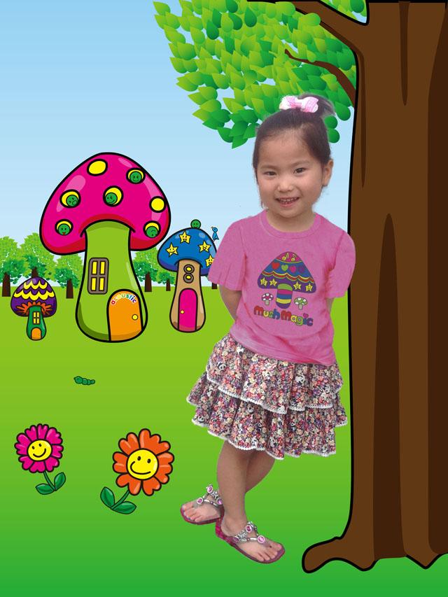 スペシャルデイスカート カモフラワーパンダ ボリューム2段スカート着用イメージ